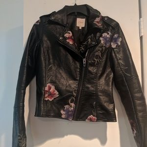 Leather jacket, floral stitching